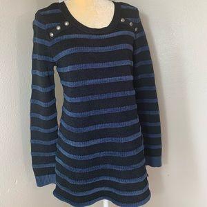 A Pea In A Pod Black Striped Maternity Sweater M